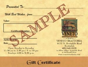 Veneto Trattoria Gift Certificate