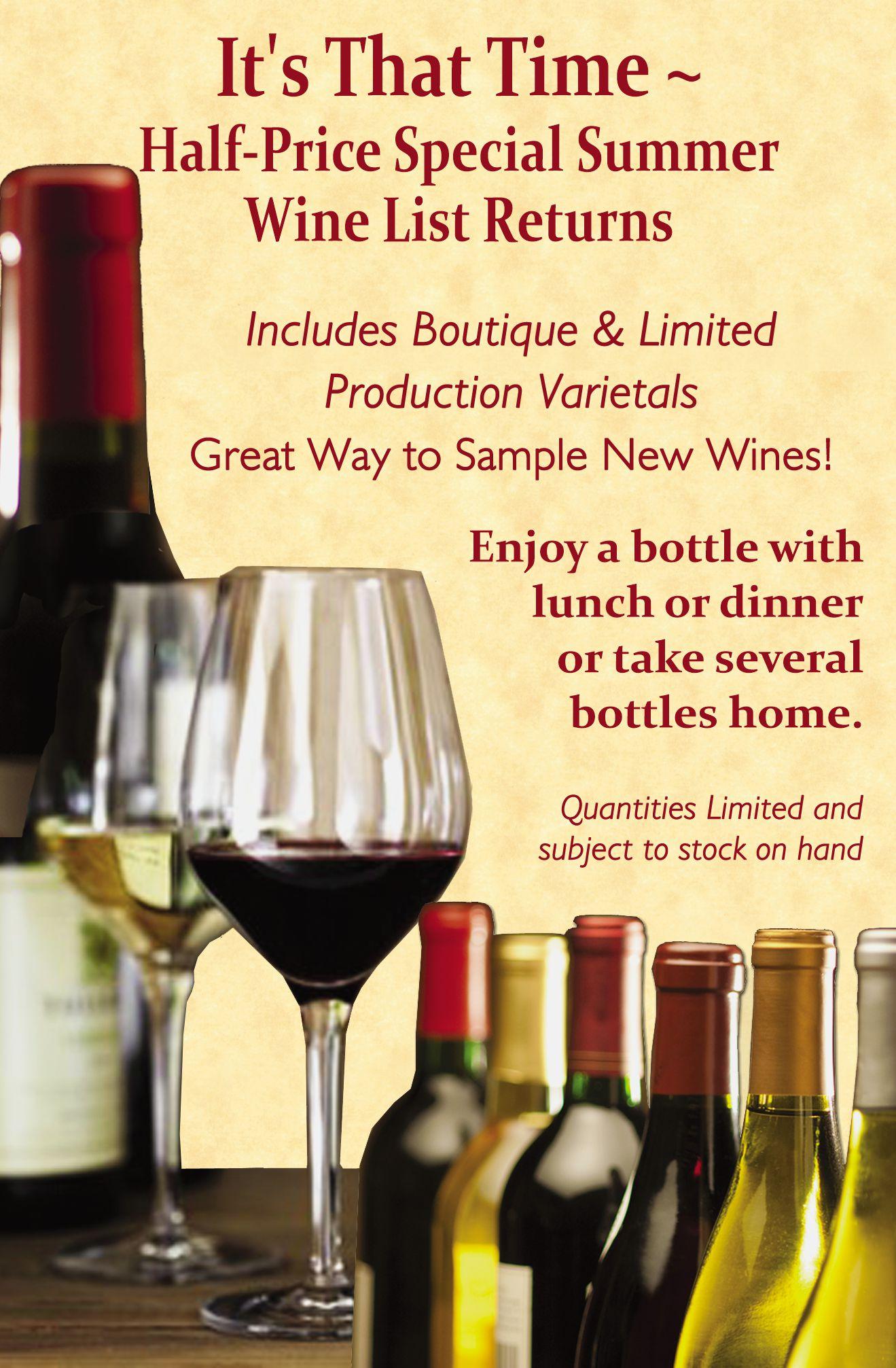 Half-Price Summer Wines
