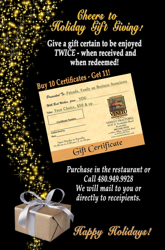 Holiday Gift Certifcate Program
